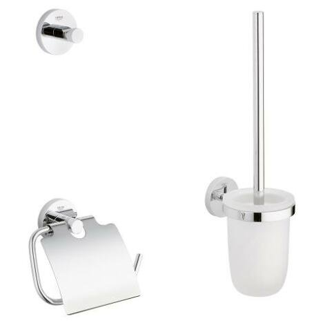 Set accesorii baie Grohe Essentials City 3 in 1, perie WC cu suport, suport hartie igienica, cuier p